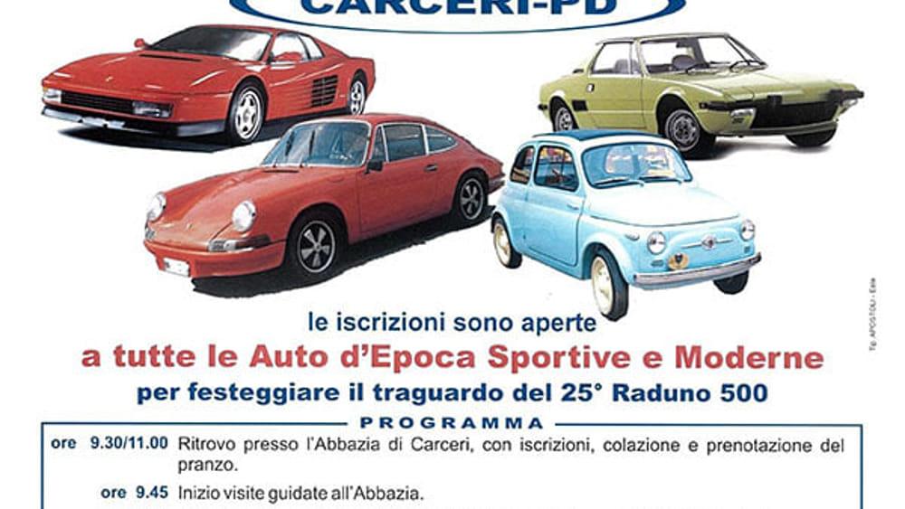 Calendario Raduni Fiat 500 2020.25esimo Raduno Fiat 500 A Carceri Il 17 Luglio 2016 Eventi A