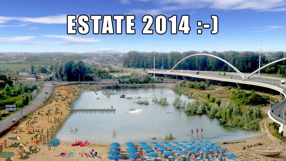 lago della crisi a padova est il fotomontaggio della